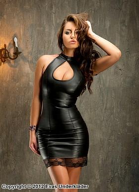 Sensuell klänning, fusk-läder, med spetskant, XS - 5XL