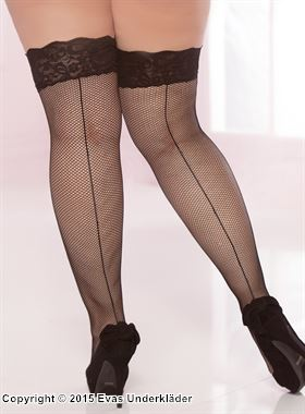Lace top fishnet thigh high with back seam, plus size