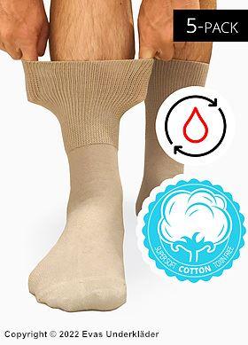Komfortstrumpor (unisex) i bomull med mjuk resår, 5-pack