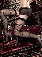 Mönstrade stockings med korsande band och rosett