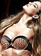 Leopardmönstrad balconette-BH