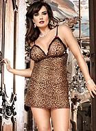Leopardmönstrat nattlinne, plus size