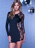 Långärmad klänning med sida i spets, svart