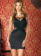 Klänning med nätkilar, svart