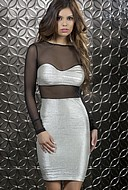 Glänsande klänning med pennkjol