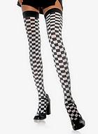 Stockings i svart/vit rutmönster