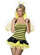 Bidrottning-kostym med vingar och krage