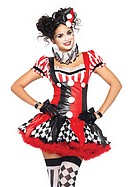 Harlequin clown, maskeradkostym
