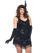 20-tals klänning med fransar och paljetter, maskeradkläder, plus size