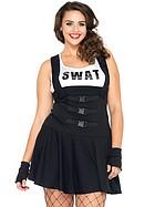 SWAT-kostym, maskeradkläder, plus size
