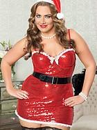 Gnistrande julklänning med tillbehör, plus size